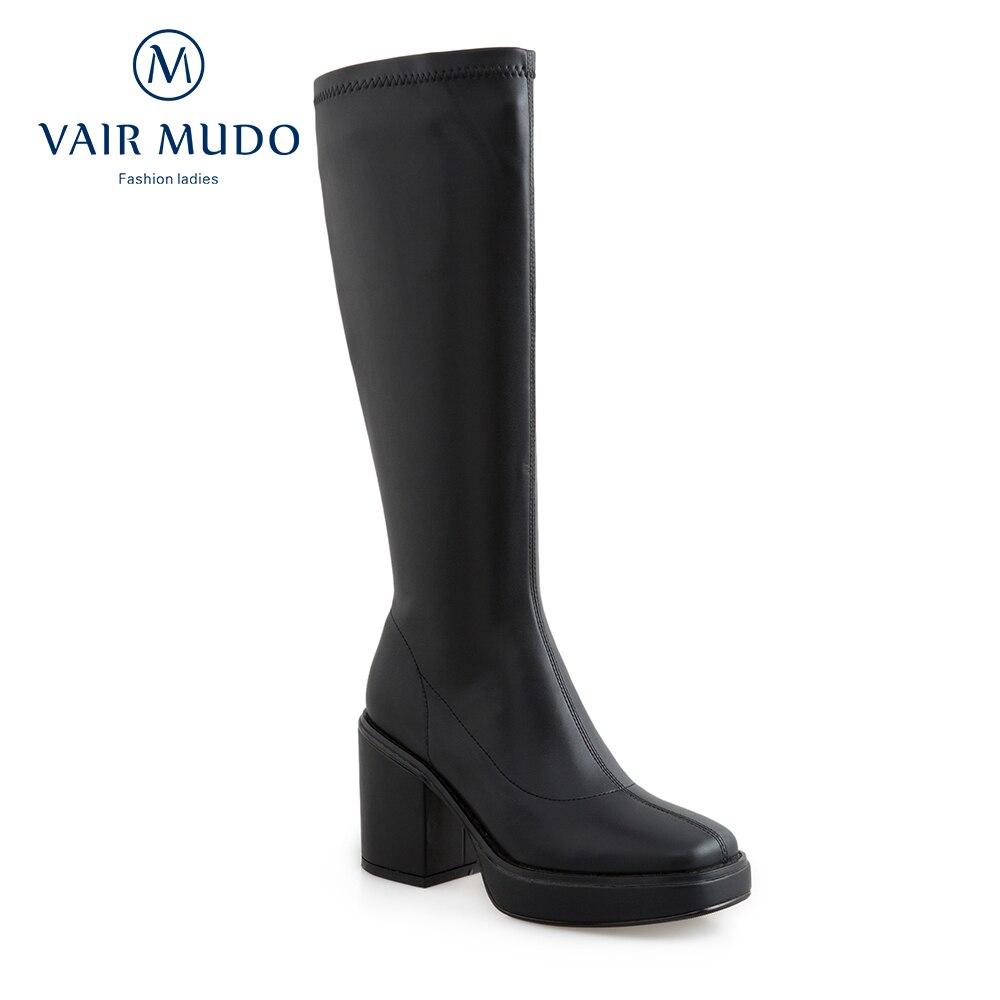أحذية نسائية بكعب سميك بطول الركبة ، أحذية قماشية مرنة مستوردة ، أحذية مثيرة ، أحذية منصة عصرية ، أبيض ، أسود ، ZT78L ، خريف وشتاء