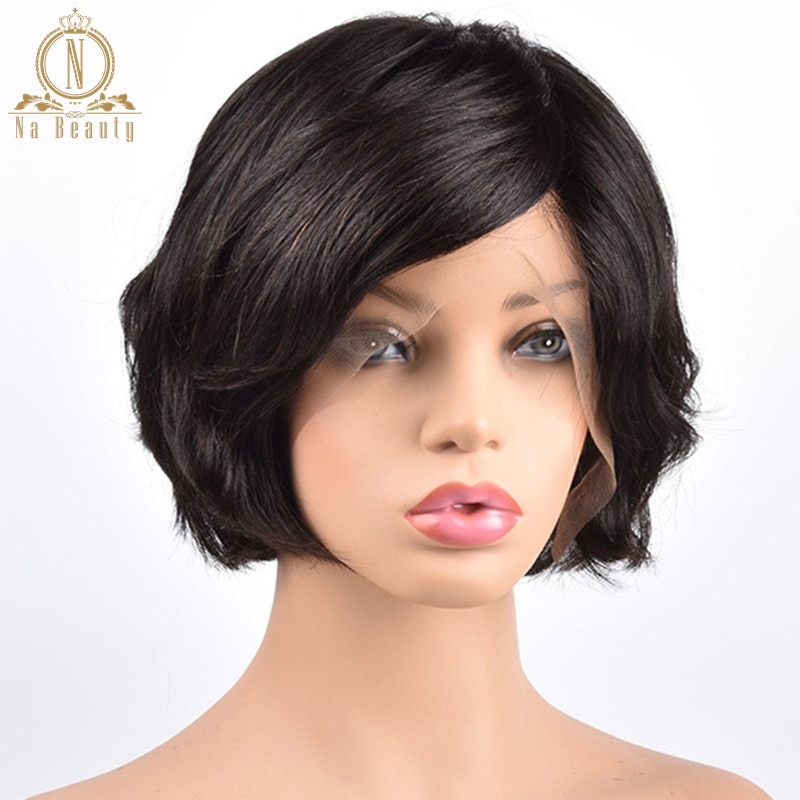 غلويليس كامل باروكة شعر شريطي شعر مستعار قصير الطبيعية موجة بوب الباروكات بيكسي قطع براون أسود كامل الدانتيل الباروكات للنساء ريمي Nabeauty