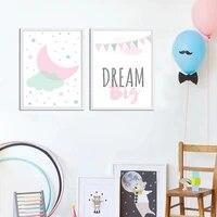 Affiches de peinture sur toile avec lettres de reve roses  dessin anime  image artistique murale pour chambre de bebe fille  decoration de la maison