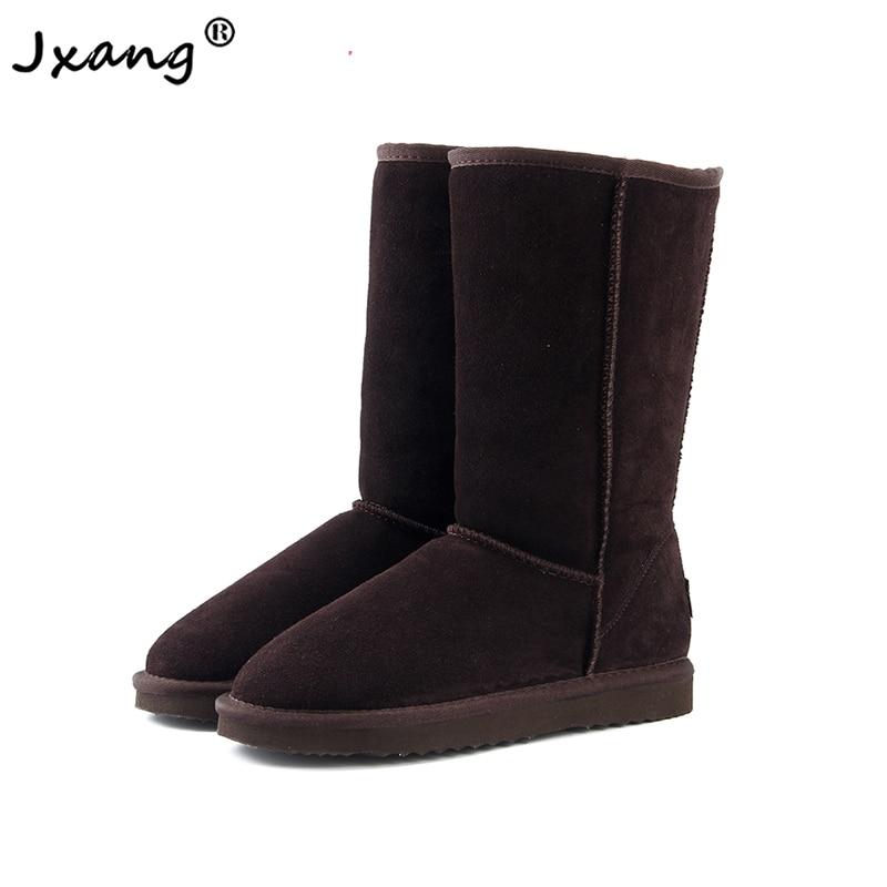 Jxang 2020 moda feminina botas de neve austrália clássico de alta qualidade couro genuíno quente botas de inverno tamanho grande
