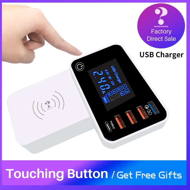 Quick Charger QC3.0 Wireless Type C Smart Universal Mobile phone Fast Charging usb hub Adapter for Xiaomi ipad iphone X 7 Huawei