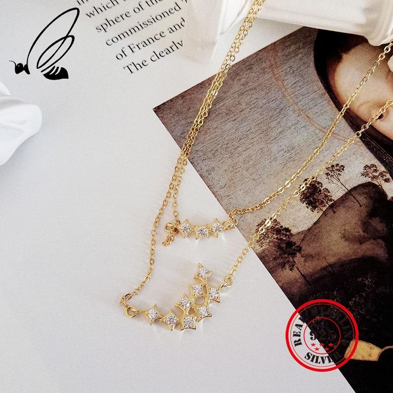 Подвески, ожерелья, Стерлинговое Серебро 925 пробы, циркониевое многослойное ожерелье для женщин, богемное колье Joyas, Золотая цепочка, воротн...