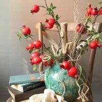 Fleurs artificielles pour decoration de maison  9 Branches de grenade  fausses fleurs de haute qualite  arrangement de fleurs pour centre commercial  hotel