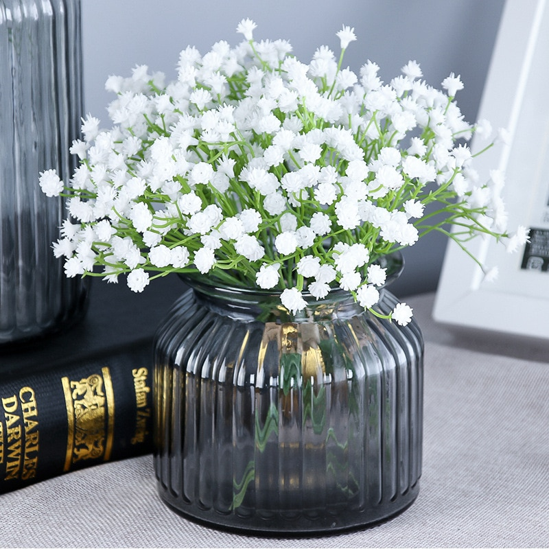 3 uds 20cm 81 cabezas/ramo artificial de flores Babysbreath Gypsophila Arte Blanco estrella del cielo plantas hogar Decoración para fiesta de boda