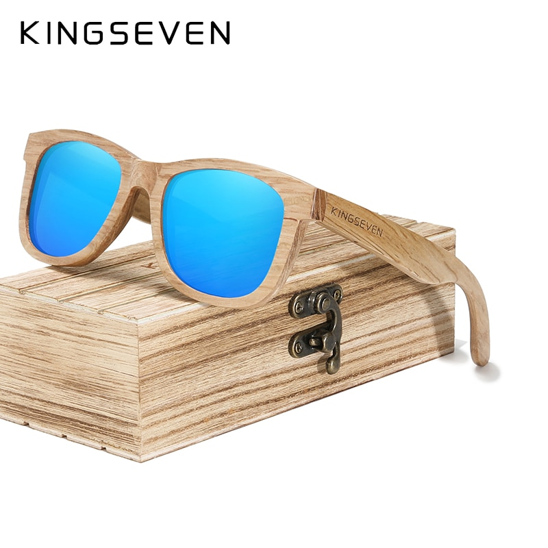 KINGSEVEN 2021 Fashion Men Handmade Natural Wooden Sunglasses Polarized Sunglasses UV400 Wood Oculos