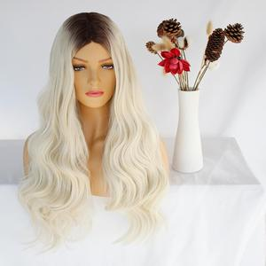 Ebingoo BEAUTY Long Wavy Womens Wig Middle Part Side Hair Ombre Synthetic Wigs Platinum Blonde Wigs Heat Resistant