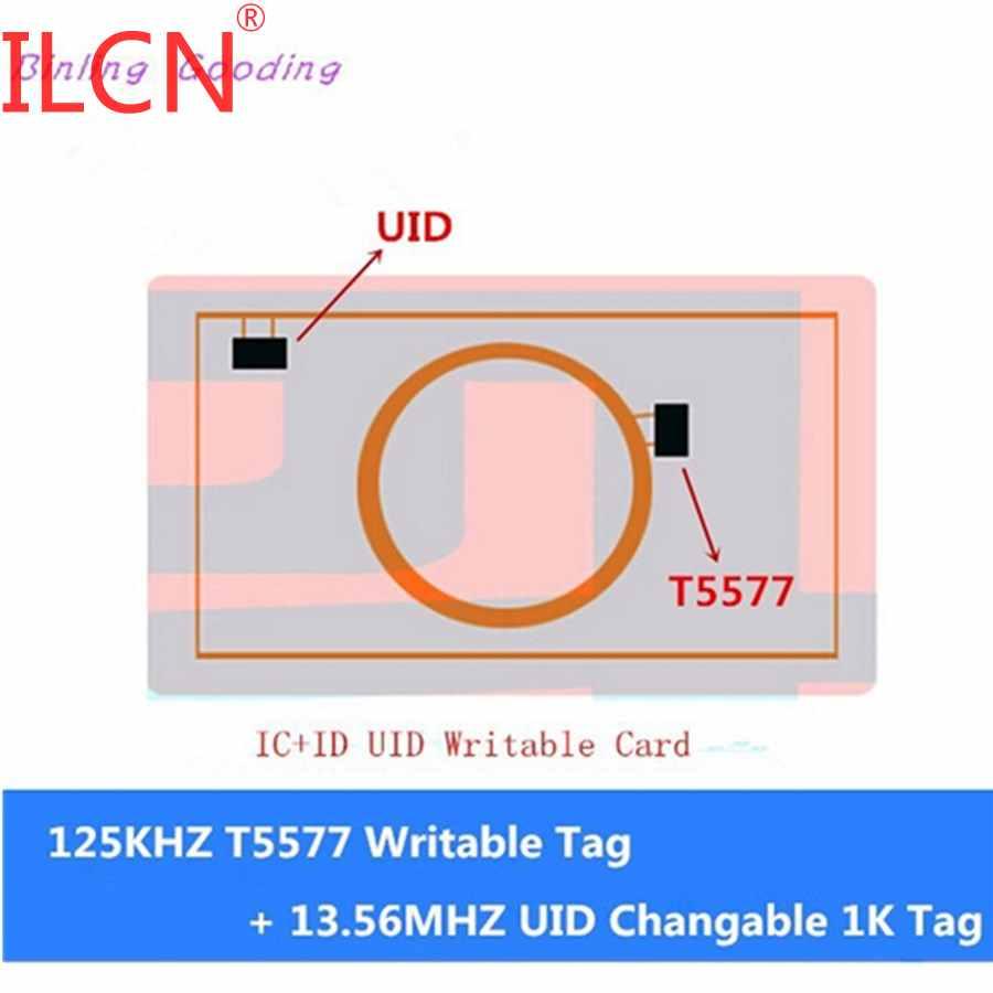 13.56 mhz uid 1 k mutável tag uid gravável + 125 khz t5577 rfid regravável duplo 2 em 1 chip ic + id composto cartão keyfob token tag