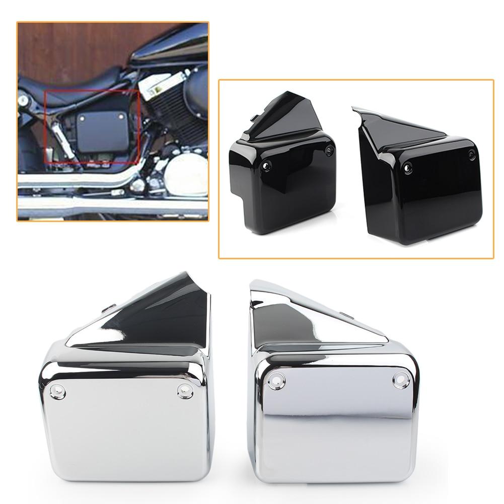 2Pcs Motorcycle Side Battery Cover Guard for Honda Black Widow Shadow Spirit VT750 DC 2000-2009 & Black Widow 2000-2007