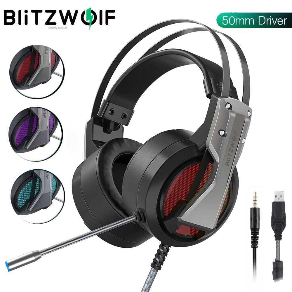 BlitzWolf BW-GH1 الألعاب سماعة مع ميكروفون Mic 7.1 الصوت المحيطي USB 3.5 مللي متر AUX لعبة السلكية سماعات ألعاب للكمبيوتر ل PS4