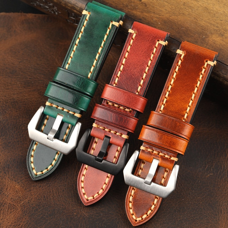 High Quality Handmade 24mm Brown Green Thick Soft Genuine Leather Watchband Wristband For PAM Big Pi