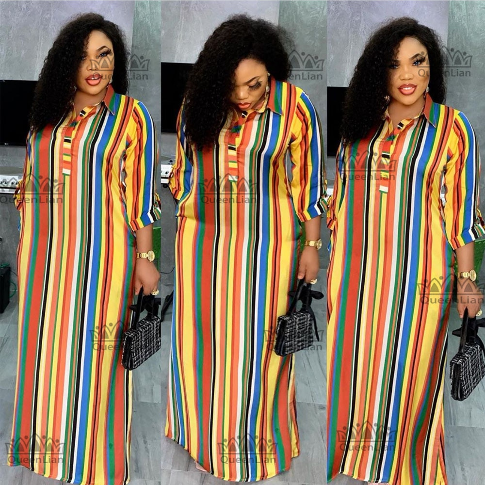 Dashiki فستان سهرة طويل فضفاض ، شيفون أفريقي ، ياقة قميص ، فستان حفلات تقليدي للنساء (CPXF04) ، موضة جديدة