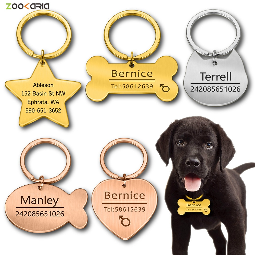 Personalized Cat Dog Pet ID Tag Keychain Engraved Pet ID Name for Cat Puppy Dog Collar Tag Pendant Keyring Bone Pet Accessories