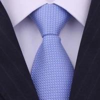 men tie 8cm 100 silk blue fashion new plaid business wedding gifts for mens accessories formal dress brand necktie