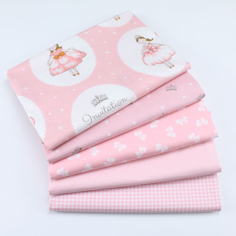 Cartoon Fairy Tale Princess Pink Cotton Twill Fabric For Sewing Girl Clothes Dress Per Meters