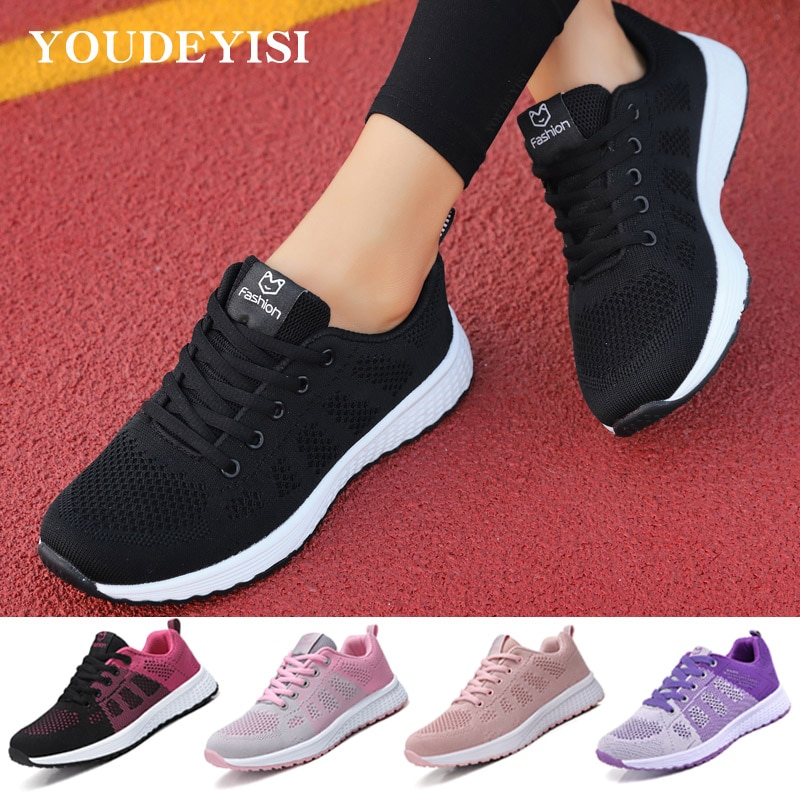 2020 Sneakers Women Shoes Flats Casual Ladies Shoes Woman Lace-Up Mesh Light Breathable Female zapat
