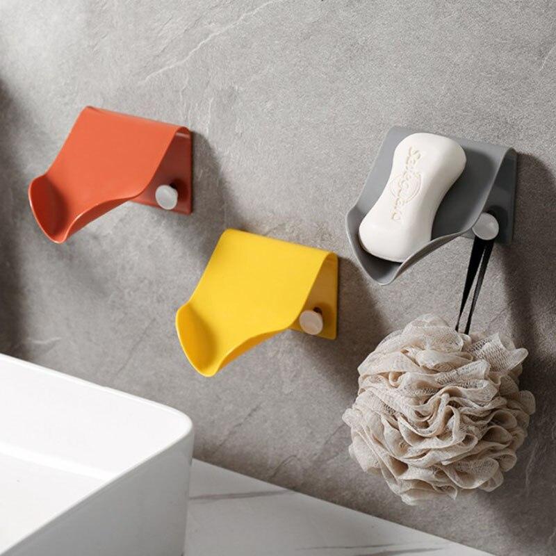 Caja de jabón Simple, caja de almacenamiento de jabón de drenaje, accesorios de baño, organizador, bandeja adhesiva, gancho, estante de drenaje de plástico sin perforar