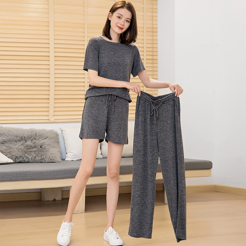 Lazy three piece fairy house pants girlfriends set net red casual lazy home short sleeve Shorts Set