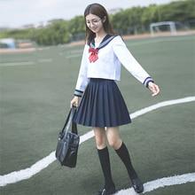 해군 선원 애니메이션 스커트 일본 학교 유니폼 패션 한국어 스타일 카와이 소녀 흰색 코스프레 졸업 일본 셔츠 의류