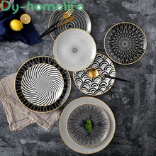 Assiette céramique ronde de Style nordique 6/8/10 pouces   Motif géométrique de Style nordique, fournitures de cuisine à domicile, os de Restaurant, assiette à salade occidentale de chine