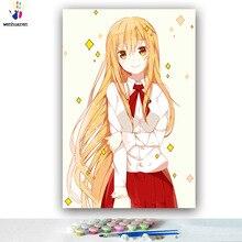 Illustration dessin animé de filles japonaises   Bricolage, photos par numéros, illustration anime, dessin, encadré avec des nombres, maison