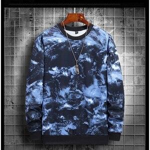 Hip Hop Tie Dye Print  Fleece  Sweatshirts Streetwear Men Autumn And Winter New Fashion Round Neck Trend All-matchTops Male