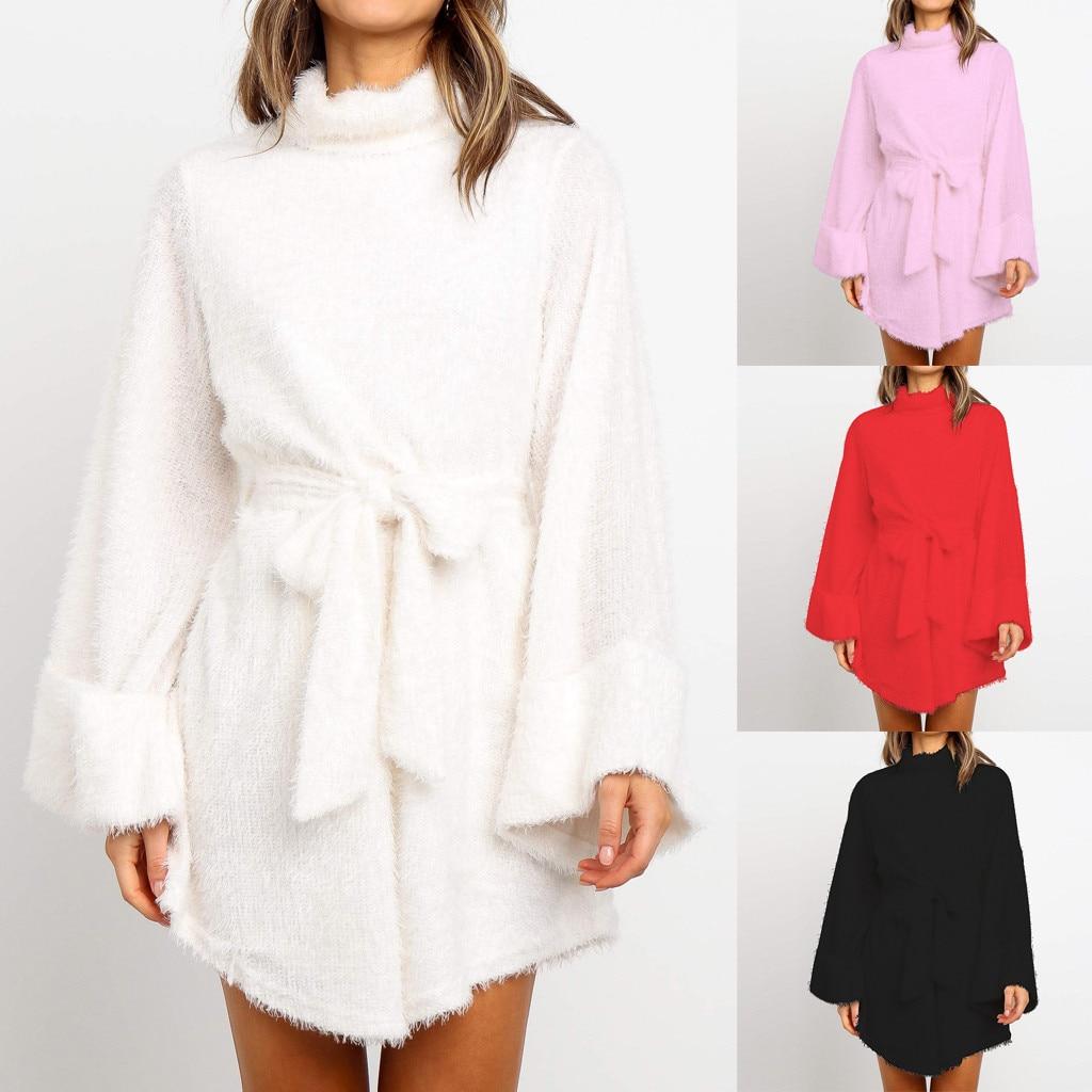 Vestido de otoño mujer Casual cuello alto elegante sólido Flare manga cinturón Flare Sashes corto-Pile Velour Mini vestido suelto Freeship платье