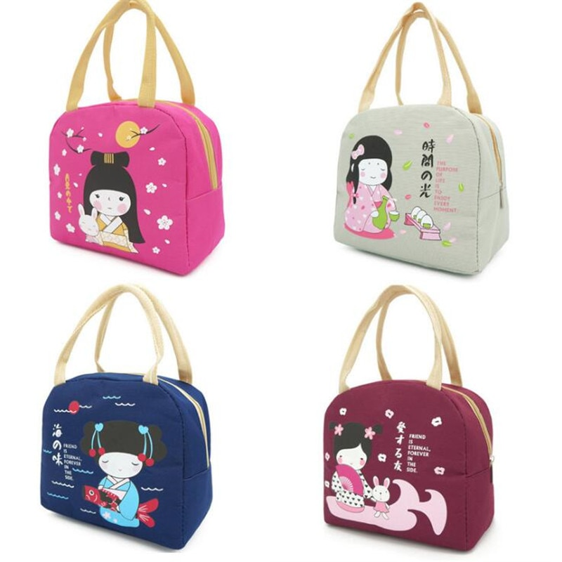 High Quality Food Lunch Picnic Bag Cute Girl Lunch Bag Convenient Carrying Thick Insulation Lunch Box Waterproof Cloth Bag
