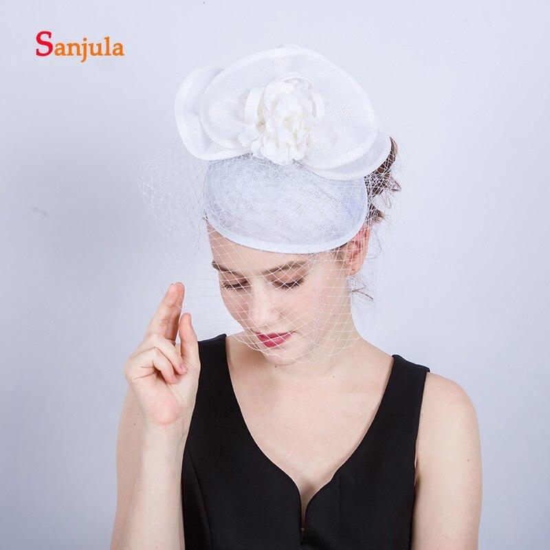 Senhoras elegantes Chapéus com Flores de Noiva Chapéus Rosto Véu de Casamento Da Noiva Cabelo Acessórios de Moda Headwear H369 sombreros para boda