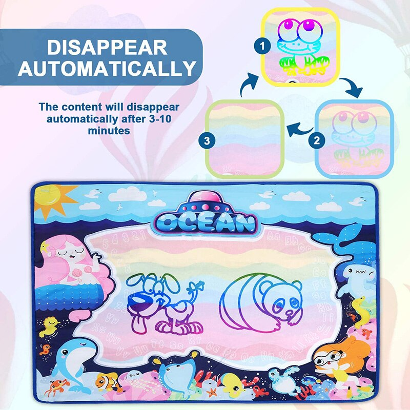 Water Aqua Magic Doodle Drawing Mat Board Book Pad Pen Set Scratch Painting Learning  Kids Toys Educational Paint Craft Baby Toy