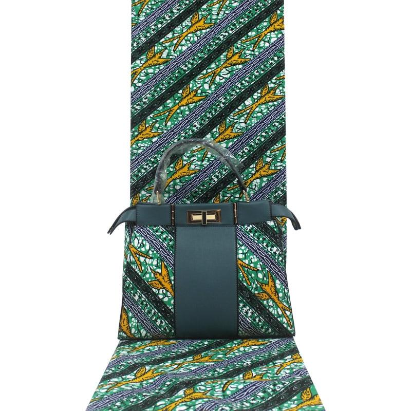 Mode Afrikaanse Wax Zak Sets 3 Stuks/set Ankara Wax Handtas Bijpassende 6 Yards Afrikaanse Real Soft Wax Stof
