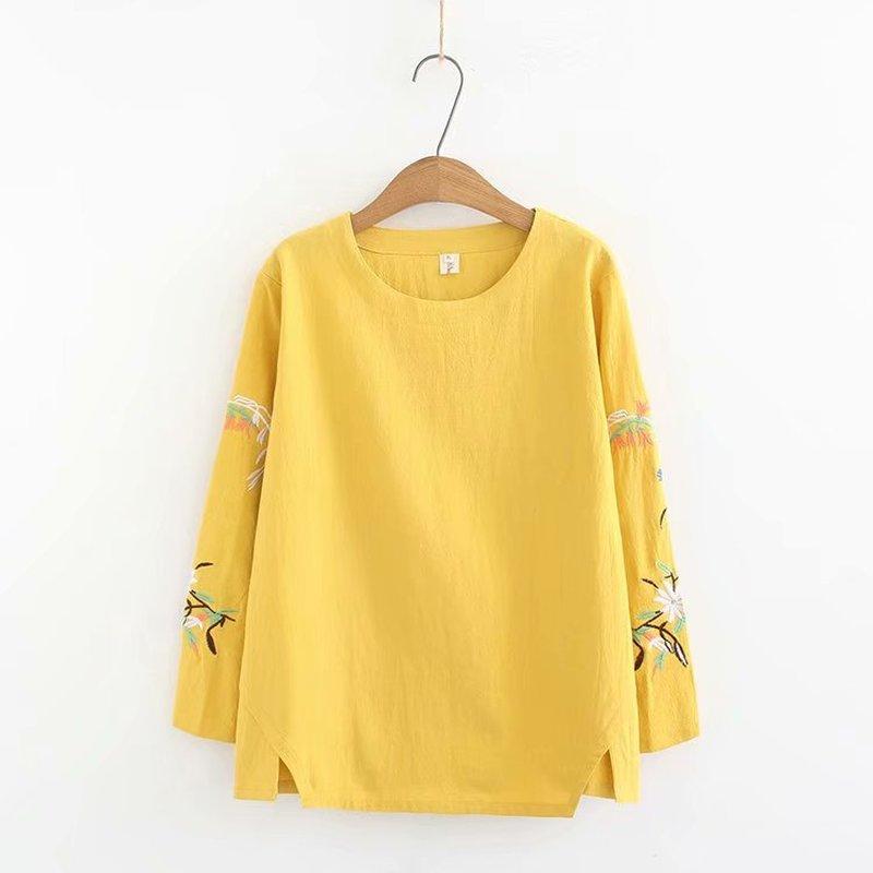 Talla grande 4XL bordado manga larga Mujer camiseta 2019 cuello redondo Camiseta mujeres tops camiseta primavera y otoño camiseta Mujer