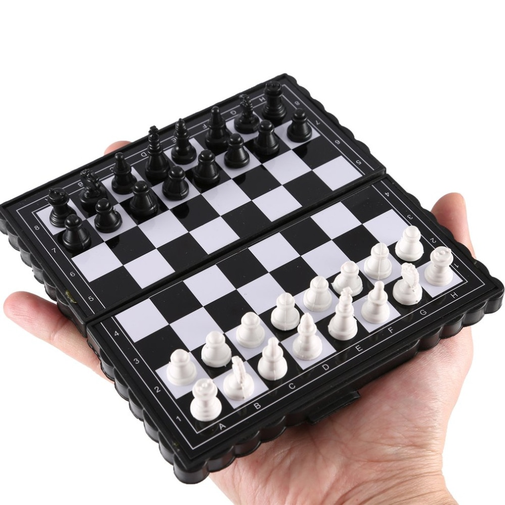 1 Juego Mini ajedrez internacional plegable plástico magnético tablero de ajedrez juego portátil niño billetera de juguete apariencia portátil familia