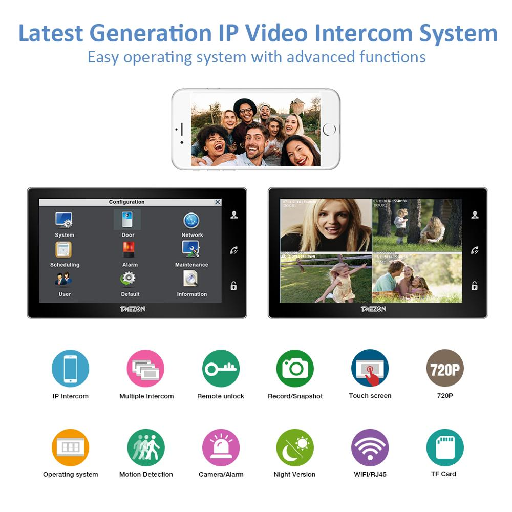 TMEZON 10 Inch Wireless Wifi Smart IP Video Doorbell Intercom System ,1xTouch Screen Monitor with 1x720P Wired Door Phone Camera enlarge
