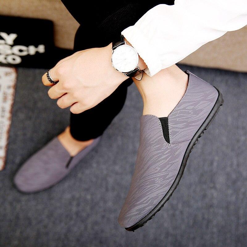 Мокасины из дышащего материала Дышащие мужские туфли классическая мягкая обувь  Лоферы тканевые удобные мужские мокасины