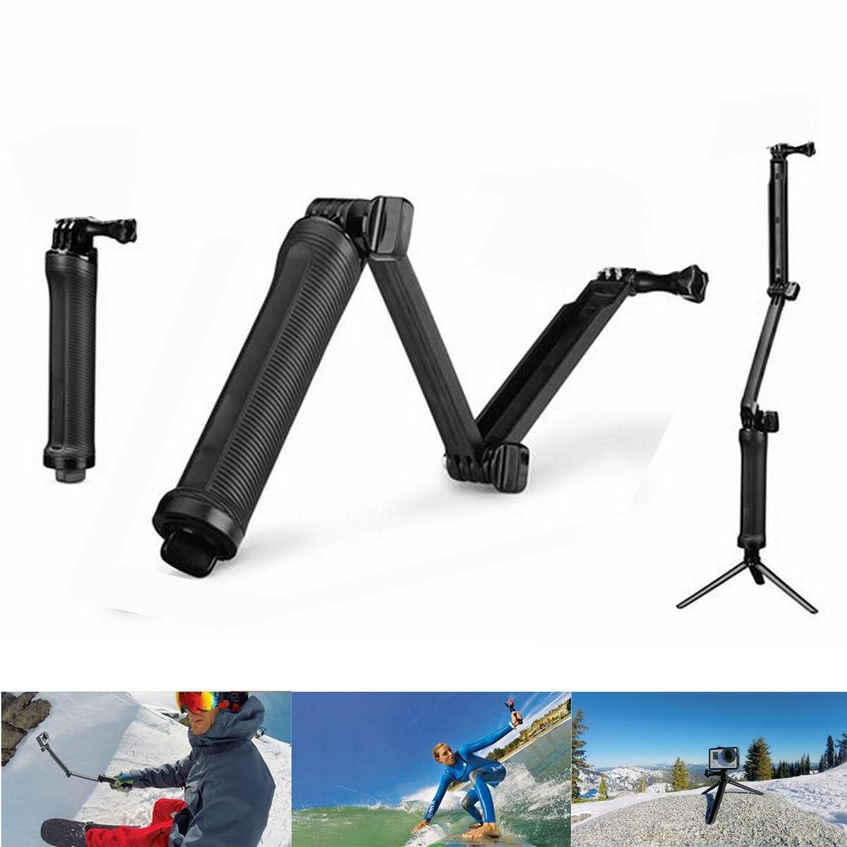 Sport Camera Tripod Folding Three-way Adjusting Arm Three-folding Selfie Stick GoPro Accessories Sports Camera Bracket 3-way