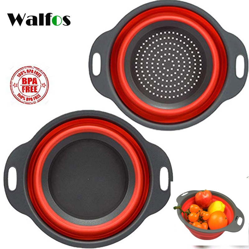 WALFOS طوي سيليكون مصفاة الفاكهة الخضار سلة غسيل مصفاة للطي تجفيف مع مقبض أدوات مطبخ