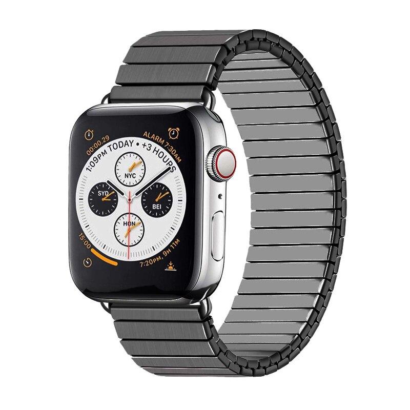 Correa de pulsera elástica para Apple watch, 44mm, 42mm, 40mm, 38mm, Serie de correas para iwatch, correa de reloj de acero inoxidable 5/4/3/2/1