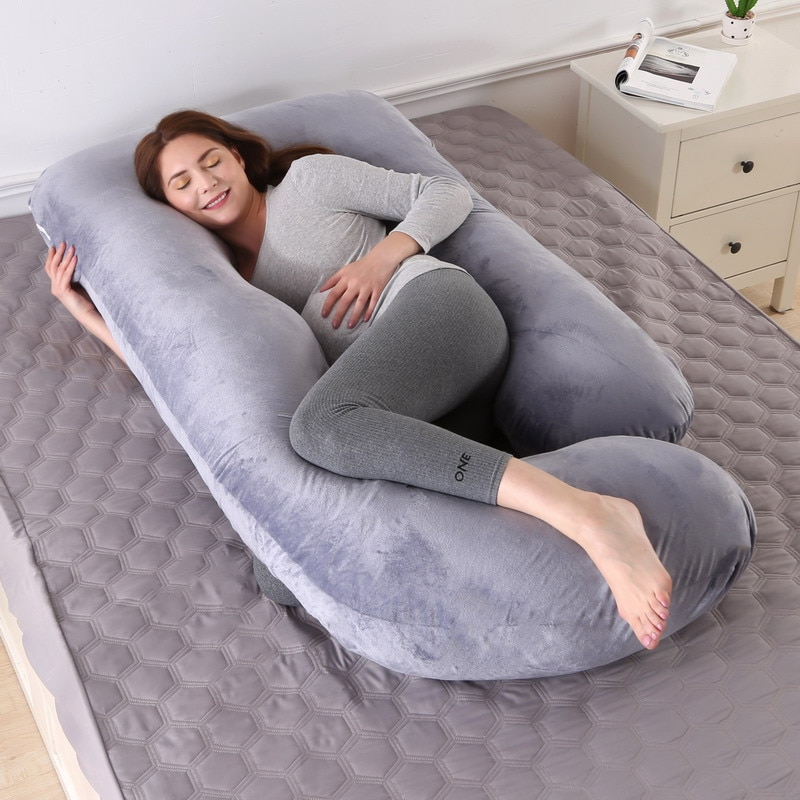 Pregnancy Pillow for Pregnant Women Sleep Nursing Maternity Full Body Pillow Support for Back Belly Hip Leg With Removable Cover