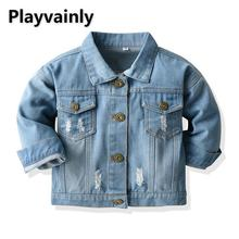2021 New Boys Girls Jackets Baby Coats Blue Denim broken hole Casual Kids Jackets for Boys Girls Kid
