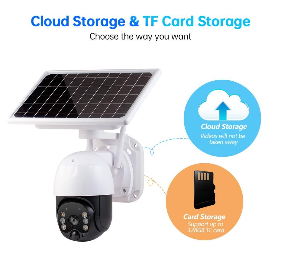 Solar Powered PTZ Camera 4G Sim Card WiFi Video IP Camera Pan Tilt Zoom 4X Remote Control PIR CCTV Security Camera ICSEE XMEYE