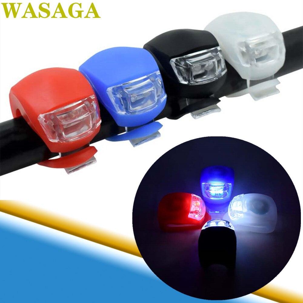 Faro de silicona LED para bicicleta, Faro de bicicleta con rueda delantera y trasera, linterna LED a prueba de agua para deporte de ciclismo, luz de advertencia nocturna