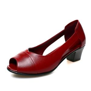 2019 Summer Genuine Leather Comfortable Ladies Mid Heel Sandals Women Shoes Hollow Peep Toe Square Heel Sandals Woman Black M843
