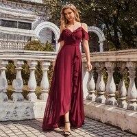 simple chiffon hi lo slim bridesmaid dresses spaghetti straps floor length double v neckline plus size red bridal party gowns