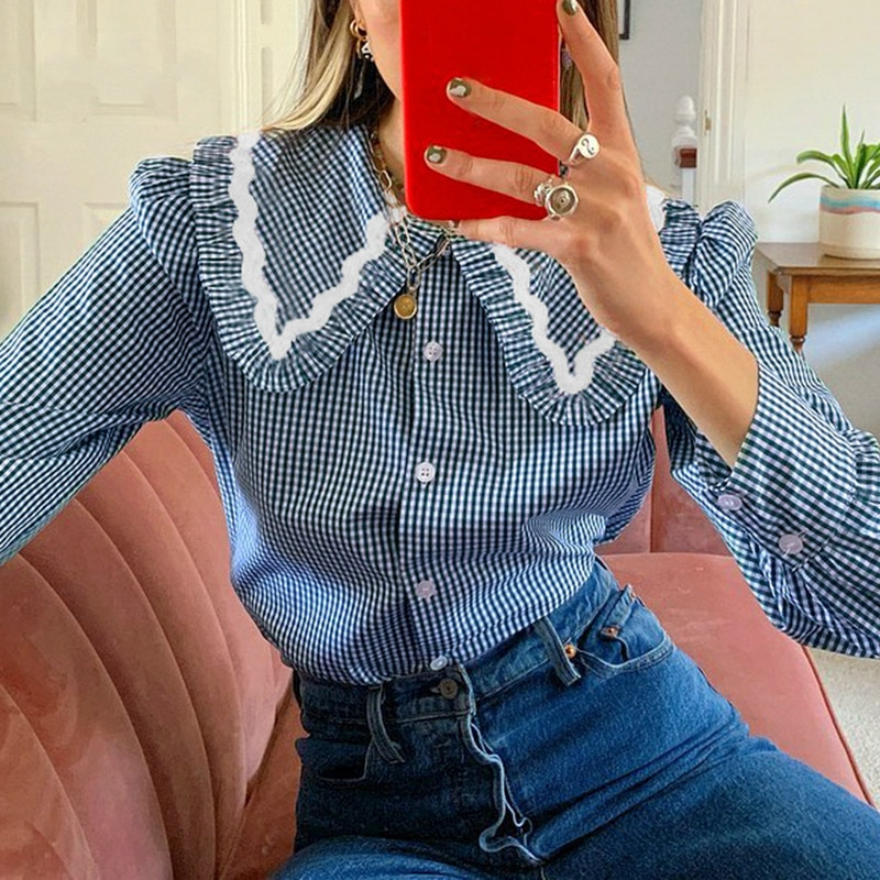 QWEEK Vintage Plaid Shirt Women Button Up Collared Shirt Long Sleeve Top Ladies Blue Cottagecore Blo