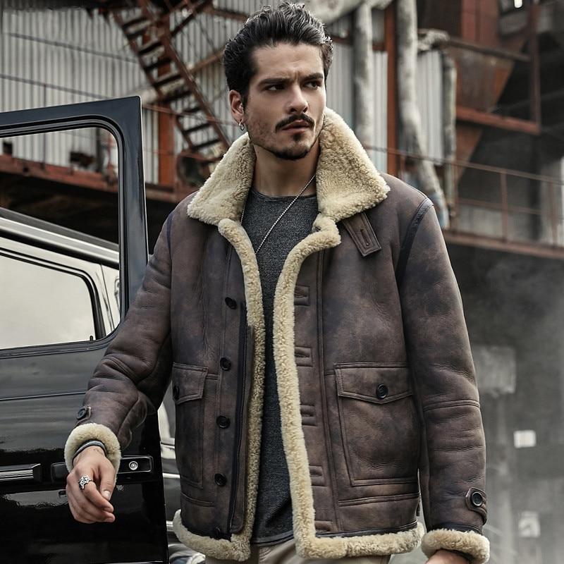 Мужская куртка из натуральной кожи пальто овчины Куртки зимняя верхняя одежда