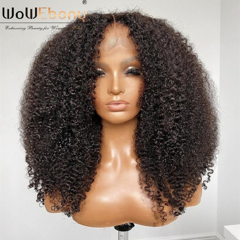 afro kinky curly lace frontal wig 250 density lace wig 13x4 T part wig brazilian curly human hair wig remy 4b4c curly for women