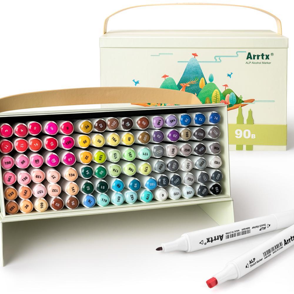 Arrtx ALP 90 Colors Alcohol Marker Set, Dual Tip Marker Set for Painting, Sketching, Cartoon Coloring, Designing, etc.