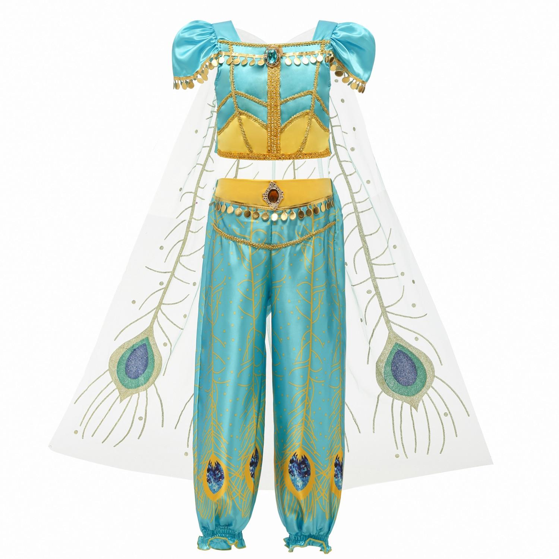 Robe de noël pour enfants   Costume de performance de rôle de princesse Jasmine Cosplay, lampe daladdin Cosplay, euraméricaine
