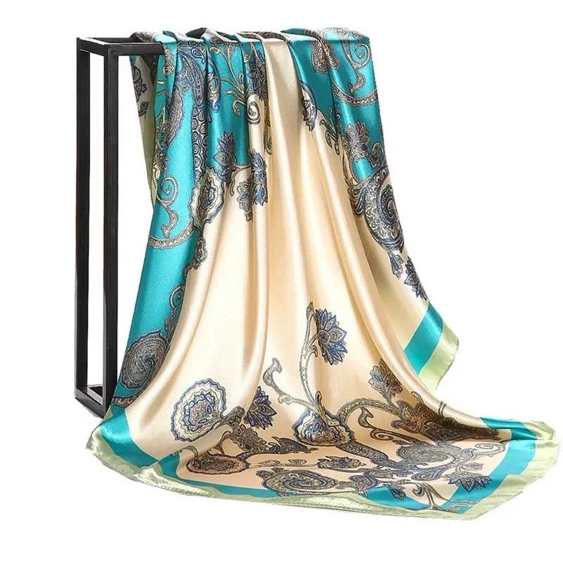 Marca de lujo nuevo estilo de verano suave estampado bufanda de seda mujeres moda multicolor lady chal para fiesta grande cuadrado lujo wraps hijab