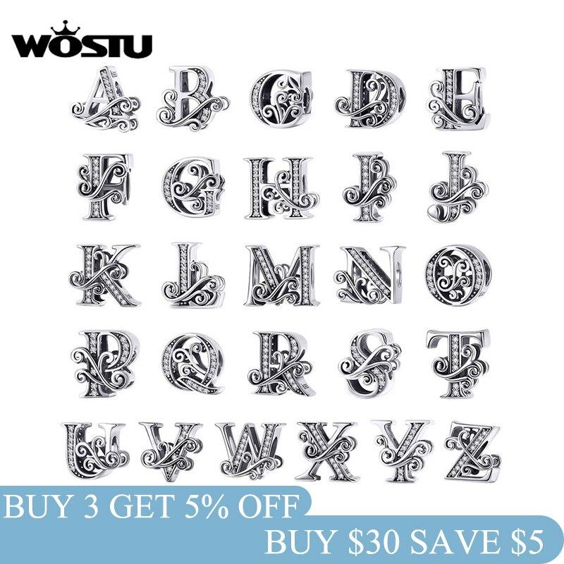 aliexpress.com - WOSTU 925 Sterling Silver 2019 A-Z 26 Letters Dazzling Beads Fit Original Charm Bracelet Pendant Bangle For Women Jewelry CTC030